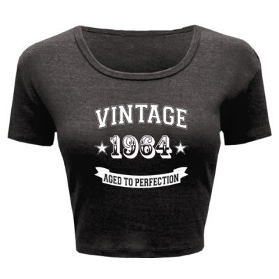 Vintage 1964 Aged To Perfection - Ladies' Crop Top XS/S-Deep Heather- Cool Jerseys - 1