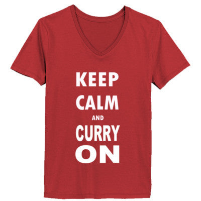 Keep Calm And Curry On - Ladies' V-Neck T-Shirt - Cool Jerseys - 1