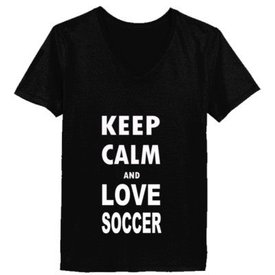 Keep Calm And Love Soccer - Ladies' V-Neck T-Shirt - Cool Jerseys - 1