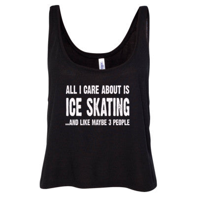 All i Care About Ice Skating And Like Maybe Three People tshirt - Ladies' Cropped Tank Top S-Black- Cool Jerseys - 1