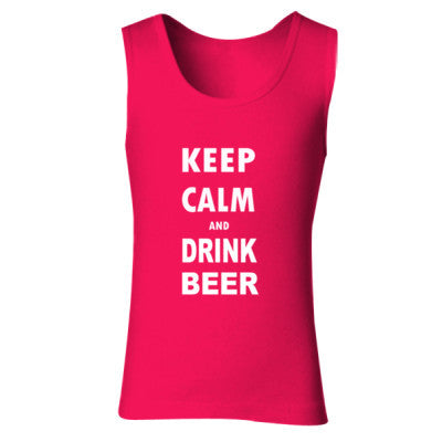 Keep Calm And Drink Beer - Ladies' Soft Style Tank Top S-Cherry Red- Cool Jerseys - 1