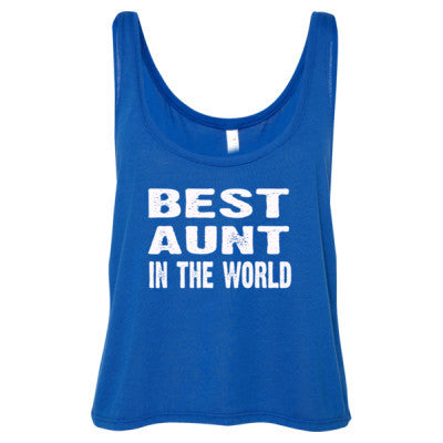 Best Aunt In The World - Ladies' Cropped Tank Top S-True Royal- Cool Jerseys - 1