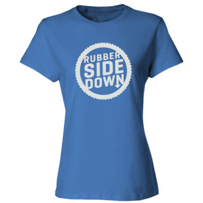 Keep the Rubber Side Down tshirt - Ladies' Cotton T-Shirt S-Carolina Blue- Cool Jerseys - 1
