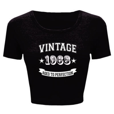 Vintage 1968 Aged To Perfection - Ladies' Crop Top XS/S-Black- Cool Jerseys - 1