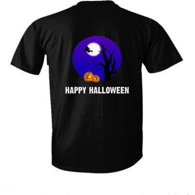 Happy Halloween tshirt - Ultra-Cotton T-Shirt Back Print Only S-Real black- Cool Jerseys - 1