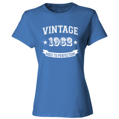 Vintage 1962 Aged To Perfection - Ladies' Cotton T-Shirt S-Carolina Blue- Cool Jerseys - 1