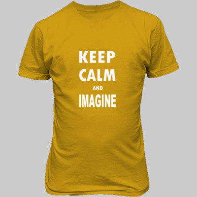 Keep Calm And Imagine - Unisex T-Shirt FRONT Print S-Gold- Cool Jerseys - 1
