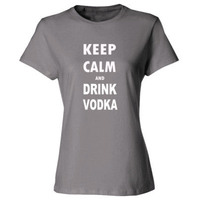 Keep Calm And Drink Vodka - Ladies' Cotton T-Shirt S-Light Steel- Cool Jerseys - 1