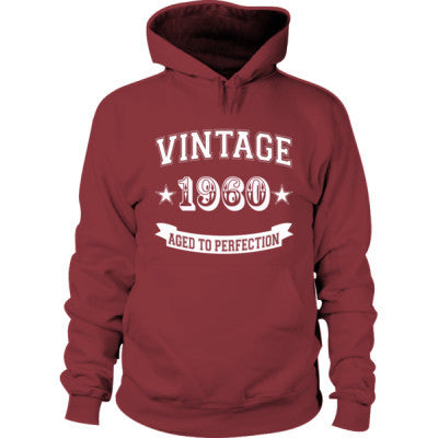 Vintage 1960 Aged To Perfection - Hoodie S-Maroon- Cool Jerseys - 1