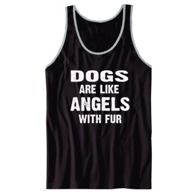 Dogs Are Like Angels With Fur Tshirt - Unisex Jersey Tank XS-Black- Cool Jerseys - 1