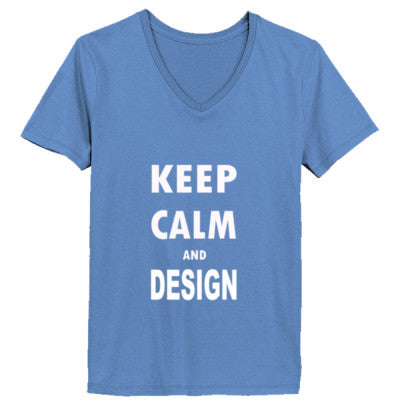 Keep Calm And Design - Ladies' V-Neck T-Shirt - Cool Jerseys - 1