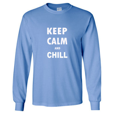 Keep Calm And Chill - Long Sleeve T-Shirt S-Carolina Blue- Cool Jerseys - 1