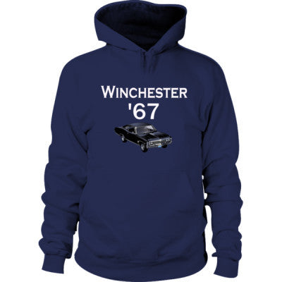 1967 Chevy Impala Supernatural Hoodie S-Navy- Cool Jerseys - 1