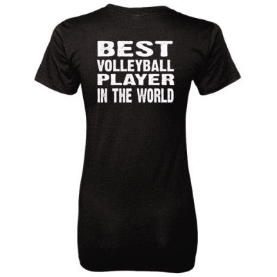 Best Volleyball Player In The World - Ladies' 100% Ringspun Cotton nano-T® Back Print Only S-Black- Cool Jerseys - 1