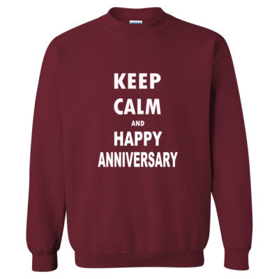 Keep Calm And Happy Anniversary - Heavy Blend™ Crewneck Sweatshirt S-Garnet- Cool Jerseys - 1