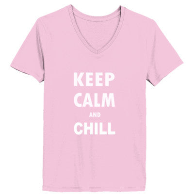 Keep Calm And Chill - Ladies' V-Neck T-Shirt XS-Pale Pink- Cool Jerseys - 1