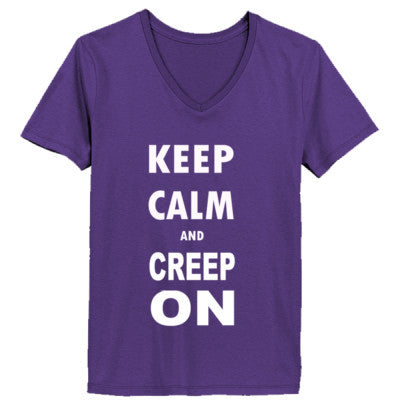 Keep Calm And Creep On - Ladies' V-Neck T-Shirt XS-Purple- Cool Jerseys - 1