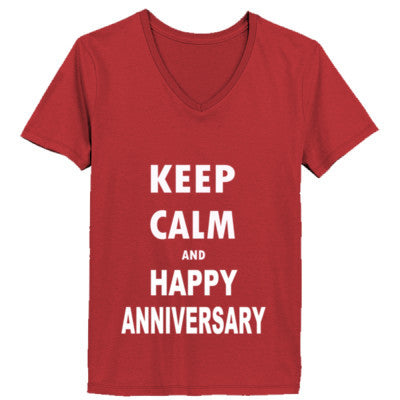 Keep Calm And Happy Anniversary - Ladies' V-Neck T-Shirt - Cool Jerseys - 1
