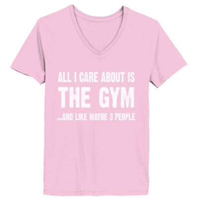 All i Care About Is The Gym tshirt - Ladies' V-Neck T-Shirt XS-Pale Pink- Cool Jerseys - 1