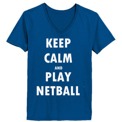 Keep Calm And Play Netball - Ladies' V-Neck T-Shirt XS-Deep Royal- Cool Jerseys - 1
