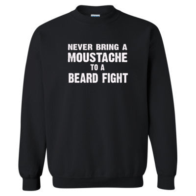 Never Bring A Moustache To A Beard Fight Tshirt - Heavy Blend™ Crewneck Sweatshirt S-Black- Cool Jerseys - 1