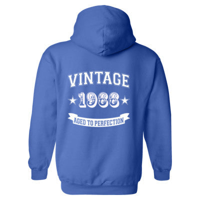 Vintage 1966 Aged To Perfection - Heavy Blend™ Hooded Sweatshirt BACK ONLY S-Royal- Cool Jerseys - 1
