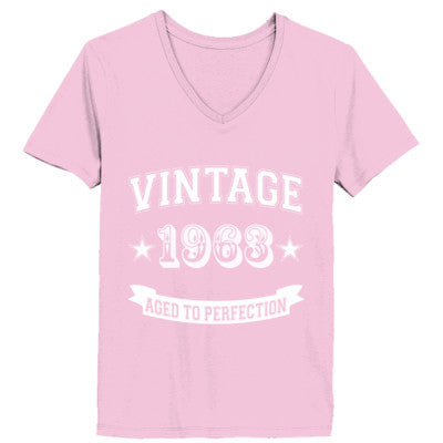 Vintage 1963 Aged To Perfection - Ladies' V-Neck T-Shirt XS-Pale Pink- Cool Jerseys - 1