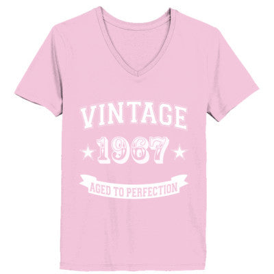 Vintage 1967 Aged To Perfection - Ladies' V-Neck T-Shirt XS-Pale Pink- Cool Jerseys - 1