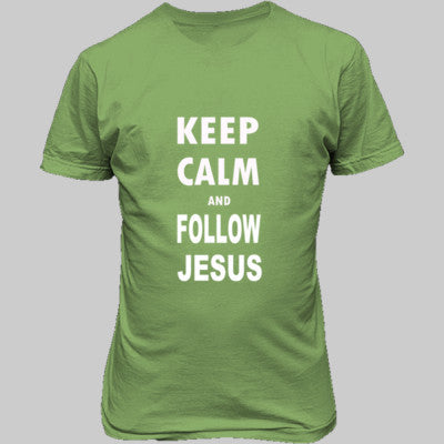 Keep Calm And Follow Jesus - Unisex T-Shirt FRONT Print S-Lime- Cool Jerseys - 1