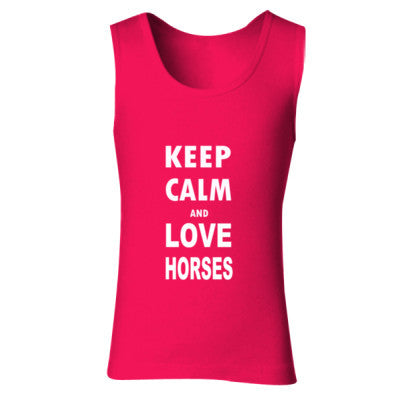 Keep Calm And Love Horses - Ladies' Soft Style Tank Top S-Cherry Red- Cool Jerseys - 1