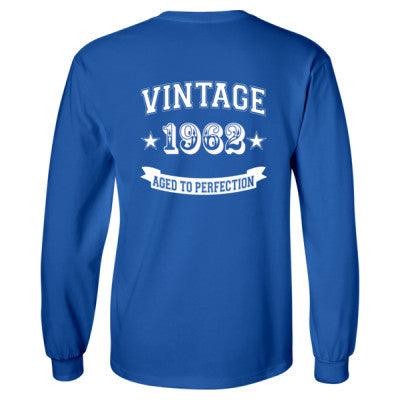 Vintage 1962 Aged To Perfection - Long Sleeve T-Shirt - BACK PRINT ONLY S-Royal- Cool Jerseys - 1