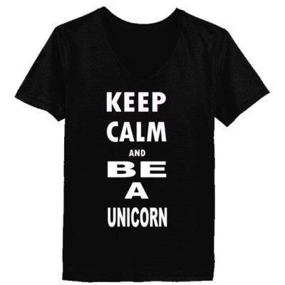 Keep Calm and Be Unicorn - Ladies' V-Neck T-Shirt - Cool Jerseys - 1