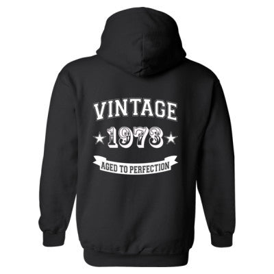 Vintage 1973 Aged To Perfection tshirt - Heavy Blend™ Hooded Sweatshirt BACK ONLY S-Black- Cool Jerseys - 1