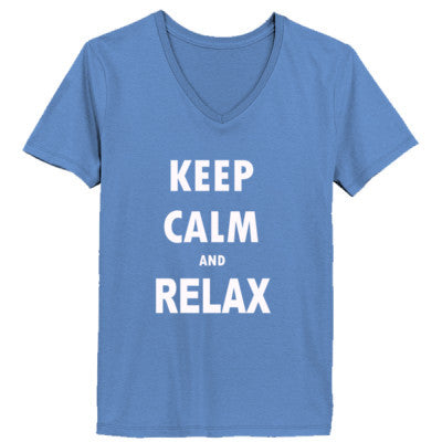 Keep Calm And Relax - Ladies' V-Neck T-Shirt - Cool Jerseys - 1