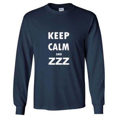 Keep Calm And ZZZ - Long Sleeve T-Shirt S-Navy- Cool Jerseys - 1