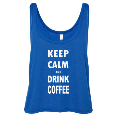 Keep Calm And Drink Coffee - Ladies' Cropped Tank Top - Cool Jerseys - 1