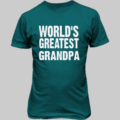 Worlds Greatest Grandpa - Unisex T-Shirt FRONT Print S-Galapogos Blue- Cool Jerseys - 1