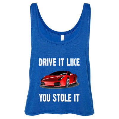 Drive It Like You Stole It - Ladies' Cropped Tank Top S-True Royal- Cool Jerseys - 1