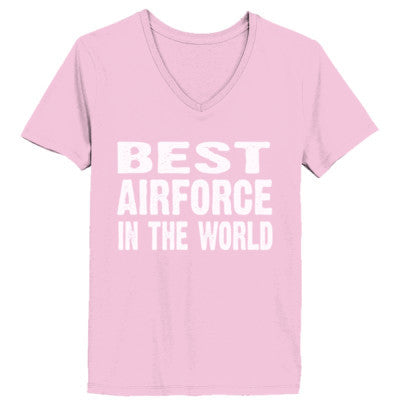 Best Airforce In The World - Ladies' V-Neck T-Shirt XS-Pale Pink- Cool Jerseys - 1