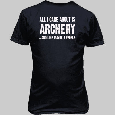All i Care About Is Archery And Like Maybe Three People tshirt - Unisex T-Shirt BACK Print Only S-Heather Navy- Cool Jerseys - 1