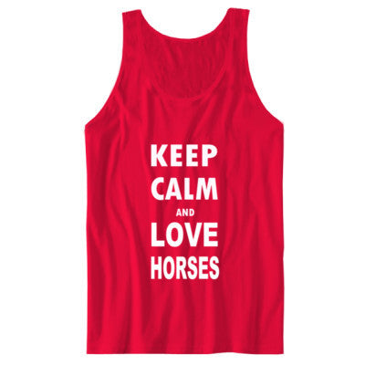 Keep Calm And Love Horses - Unisex Jersey Tank S-Red- Cool Jerseys - 1