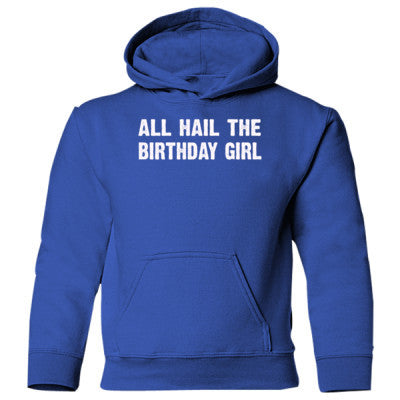 All Hail the birthday girl Heavy Blend Children's Hooded Sweatshirt S-Royal- Cool Jerseys - 1