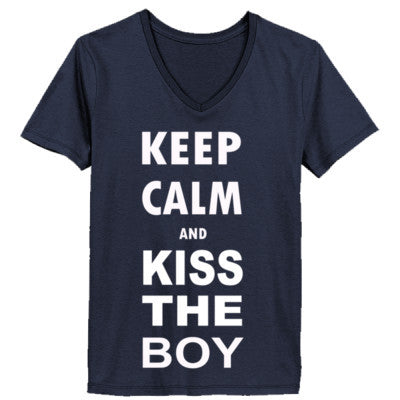 Keep Calm And Kiss The Boy - Ladies' V-Neck T-Shirt - Cool Jerseys - 1