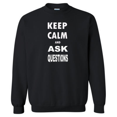 Keep Calm and Ask Questions  - Heavy Blend™ Crewneck Sweatshirt S-Black- Cool Jerseys - 1
