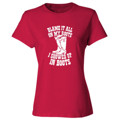 Blame It All On My Roots - Ladies' 4.5 oz., 100% Ringspun Cotton nano-T® T-Shirt S-Deep Red- Cool Jerseys - 1
