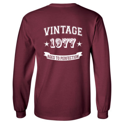 Vintage 1977 Aged To Perfection tshirt - Long Sleeve T-Shirt - BACK PRINT ONLY S-Maroon- Cool Jerseys - 1