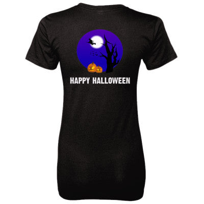 Happy Halloween tshirt - Ladies' 100% Ringspun Cotton nano-T® Back Print Only - Cool Jerseys - 1