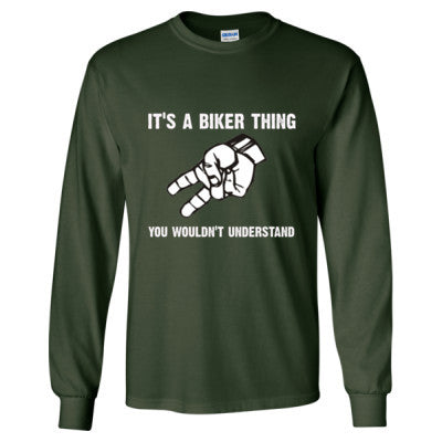 Biker Wave tshirt - Long Sleeve T-Shirt S-Forest Green- Cool Jerseys - 1