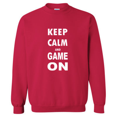 Keep Calm And Game On - Heavy Blend™ Crewneck Sweatshirt S-Cherry Red- Cool Jerseys - 1