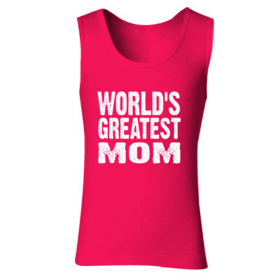 Worlds Greatest Mom - Ladies' Soft Style Tank Top S-Cherry Red- Cool Jerseys - 1